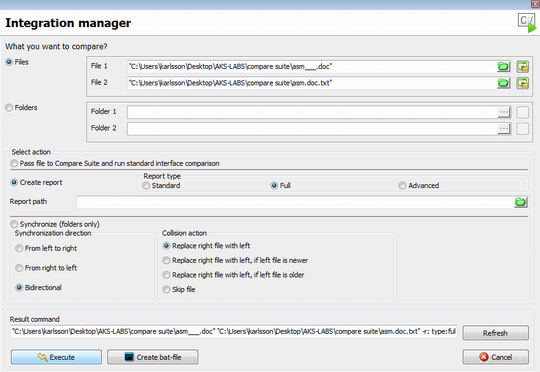 Use integration manager to create bat files