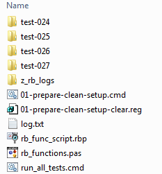 Folder with GUI test scripts