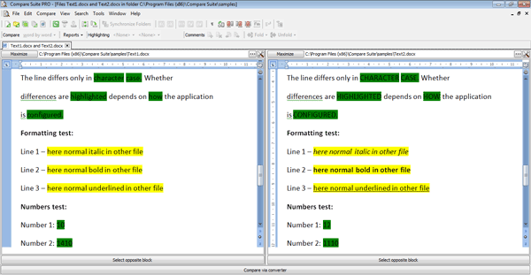 compare two ms word documents with compare suite