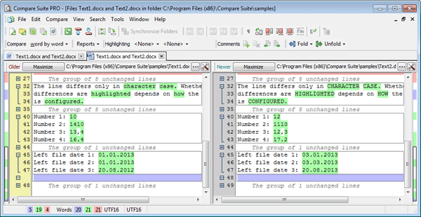 Compare Word as plain text file